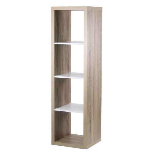 Étagère rectangulaire 4 cases coloris chêne intérieur blanc
