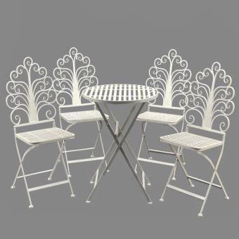 Mobilier Salon de Jardin 1 Table 4 Chaises Blanc Fer ...