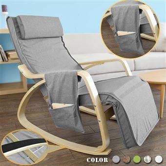 Bouleau1 DG à bascule FST18 épaisRocking Chair berçante Fauteuil pochette avec éponge plus SoBuy® repose pieds réglable latérale gratuite oQrdCxBeW