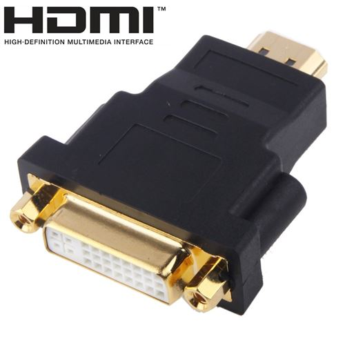 (#23) Gold Plated HDMI 19 Pin Male to DVI 24 + 5 Pin Female Adapter(Black)