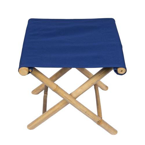 Tabouret en Bambou Bleu 45 x 42 x 47 cm, Toile détachable