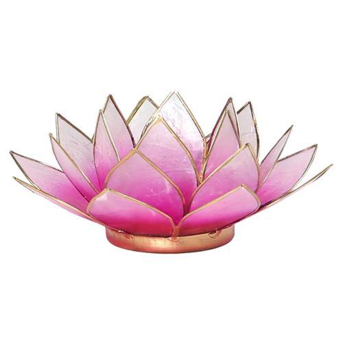 Porte Bougie Fleur de Lotus Rose foncé et or