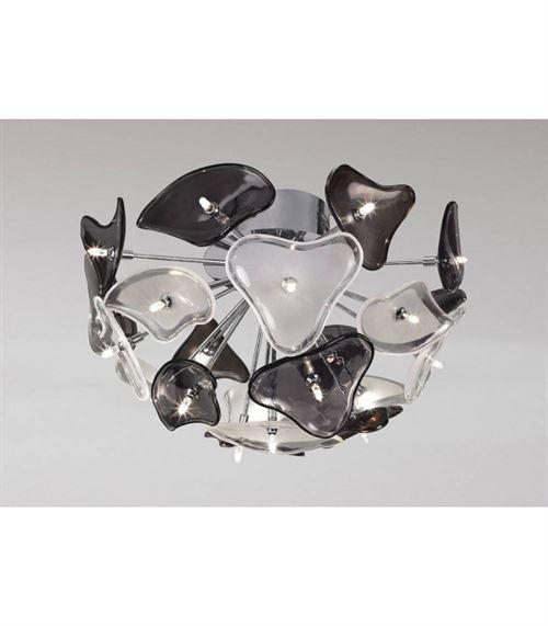 Plafonnier Otto 21 Ampoule G4, chrome poli/verre dépoli/verre noir