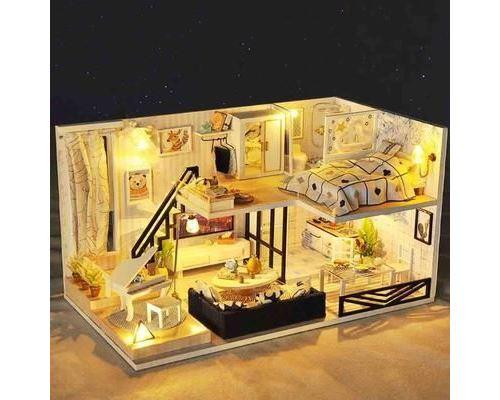 TEMPSA MiNi Maison de poupées Cockloft DIY Miniature Moderne -Lumière LED Pour Cadeau D'enfant Jouet Créatif -30x16.5x17cm