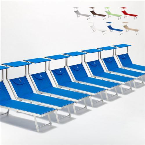Bain de soleil chaises longue transats Lits de plage piscine aluminium jardin Santorini 20 pcs, Couleur: Bleu