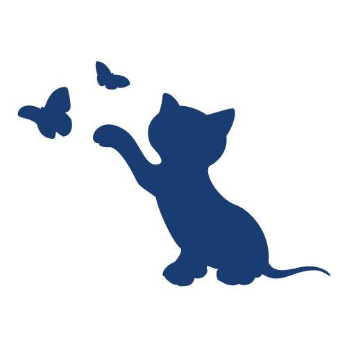 Sticker Interrupteur Chat Petit Papillon - Dimensions 8,6 x 7 Cm - Bleu Cobalt - Mat - Adhésifs