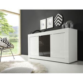 Bahut Blanc Et Gris Laque Design Ariel 3