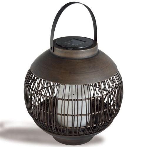 AIC International - Lanterne solaire tressée Ø 22 cm couleur marron - Osaka