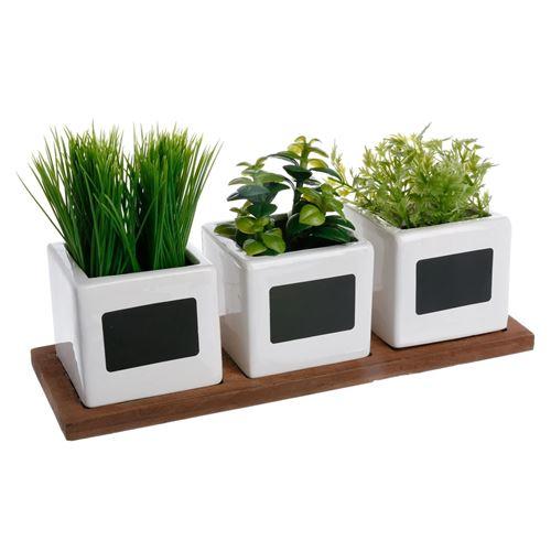 Lot de 3 Plantes Artificielles Herbes Aromatiques 34cm Blanc