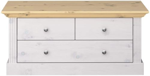 Banc en pin coloris blanc / naturel - 46 x 104 x 42 cm -PEGANE-