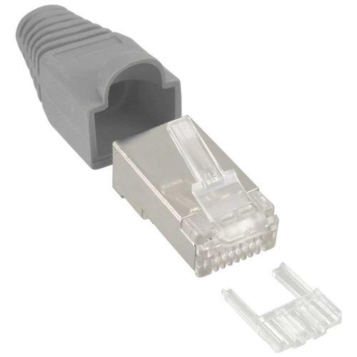 Connecteur à sertir InLine® RJ45 8P8C blindé avec filetage + protection anti-pliage gris 10 pcs.