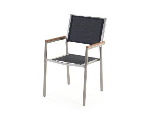 Beliani - Table de jardin acier inox - plateau granit triple noir flambé  180 cm avec 6 chaises en textile - Grosseto