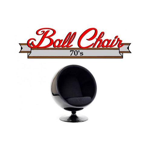Fauteuil boule, Ball chair coque noir / intérieur feutrine noir. Design 70's.