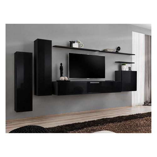 Ensemble meuble salon SWITCH I design, coloris noir brillant.