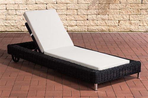 Chaise Longue / Bain de soleil Rosso en polyrotin 5mm , Noir /Blanc crème