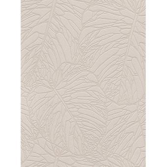 Papier Peint De Modele De Feuille Taupe Pale Et Argent Rasch 609349
