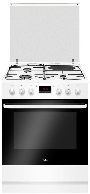 Amica ACM7037B - Cuisinière - pose libre - largeur : 60 cm - profondeur : 60 cm - hauteur : 85 cm - avec système auto-nettoyant - classe A - blanc