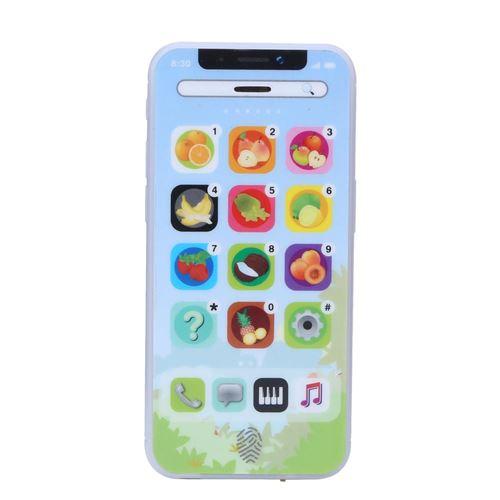 Téléphone simulé pour enfant éducatif jouet pour apprentissage Bleu