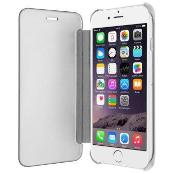 Etui iPhone 6 iPhone 6s avec effet mirroir et clapet translucide Argent