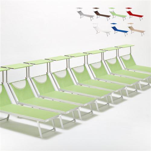 Bain de soleil chaises longue transats Lits de plage piscine aluminium jardin Santorini 20 pcs, Couleur: Vert