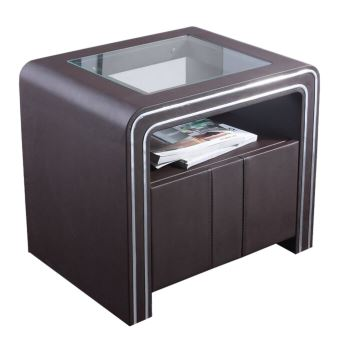 Table De Chevet Design En Simili Cuir Vi Marron Achat Prix Fnac