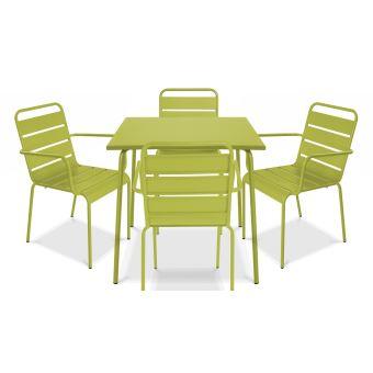 Table de jardin carrée en métal et 4 fauteuils, Palavas - Vert ...