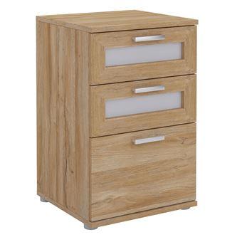 Table de chevet JESSY, table de nuit hauteur 60 cm avec 3 tiroirs 2 inserts vitrés, pour lit boxspring, mélaminé décor chêne sauvage