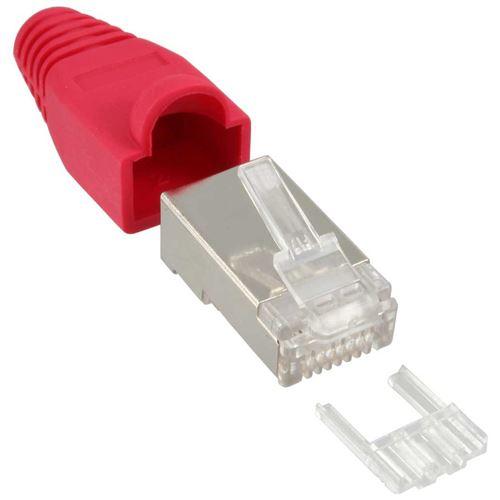 InLine® Crimp Connector RJ45 blindé avec protection anti-courbure + enfileur rouge 10 pcs.