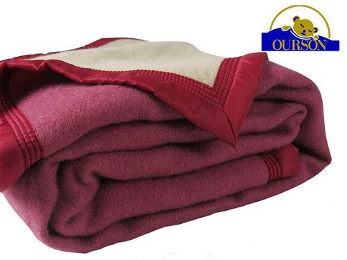 Couverture pure laine woolmark ourson 600 gr pivoine 220x240