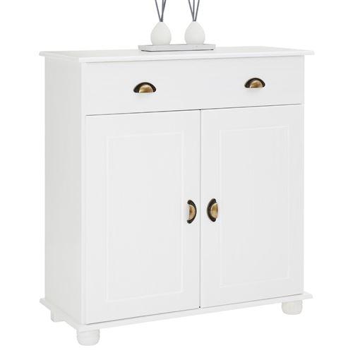 Buffet COLMAR commode bahut vaisselier meuble bas rangement avec 1 tiroir et 2 portes, en pin massif lasuré blanc