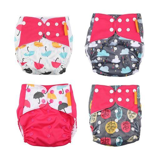 Couche jetable 4 pcs bébé tissu couche-culotte lavable réutilisable nappe
