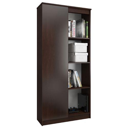 FRIDA   Meuble de rangement multi-fonctionnel 180x80x35 cm   Bibliothèque moderne salon/séjour/bureau 8 niches + 1 porte   Wenge