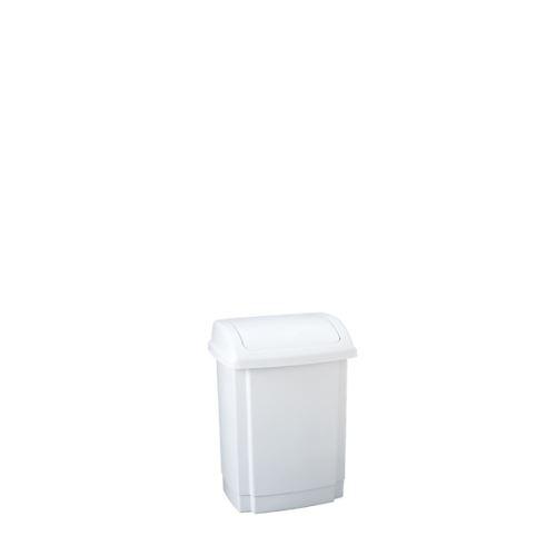 POUBELLE À COUVERCLE BASCULANT 10 LITRES - MEDIAL - Blanc - 4 Kg - Polypropylène haute densité