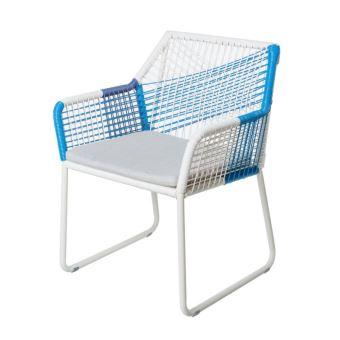 Chaise de jardin en aluminium et corde de rotin blanc et bleu BRAGA