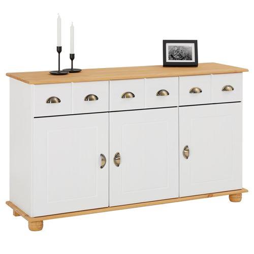 Buffet COLMAR commode bahut vaisselier meuble bas rangement avec 3 tiroirs et 3 portes, en pin massif lasuré blanc et brun