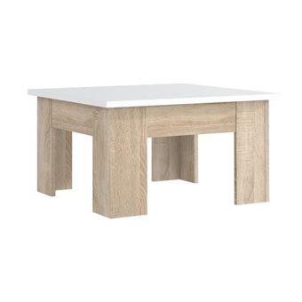 Table Basse Chene Sonoma.Finlandek Table Basse Carree Pilvi Style Contemporain Blanc Mat Et Decor Chene Sonoma L 75 X L 75 Cm