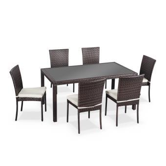 Salon de jardin en résine tressée 6 chaises, Chocolat, table d\'extérieur  design - Alice\'s Garden