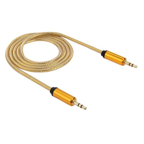 (#1) 3.5mm Male to Male Plug Jack Stereo Color Mesh Audio AUX Cable for iPhone, 1m(Yellow)