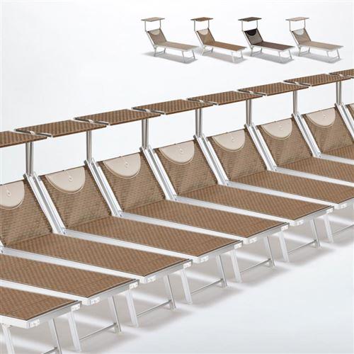 Bain de soleil transats piscine aluminium lits de plage Santorini Limited Edition 20 pcs, Couleur: Moka - Marron Santorini