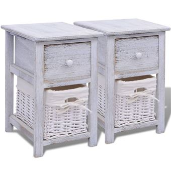 vidaxl table de chevet 2 pcs bois blanc achat prix fnac