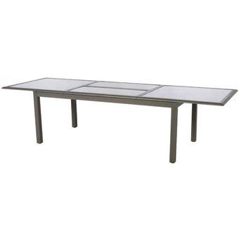 Table Azua Extensible 12 Personnes Mastic Plateau Taupe Mobilier