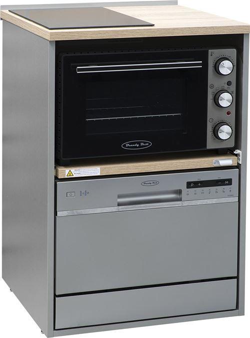 Brandy Best TRIO60S-SV-S Trio 60 cm tout-en-un avec domino vitro, four et lave-vaisselle silver meuble couleur chêne claire et gris