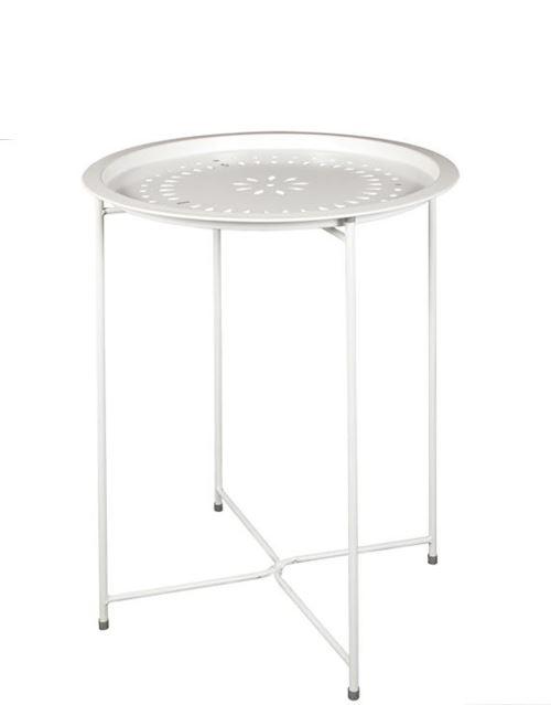 Table d'appoint en métal coloris blanc - 60 X 46 X 46cm -PEGANE-