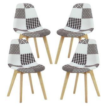 lot de 4 chaises scandinaves en tissu patchwork noir blanc