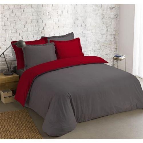 VISION Parure de couette bicolore 100% coton - 1 housse de couette 220 x 240cm + 2 taies doreillers 65 x 65 cm - Gris anthracite