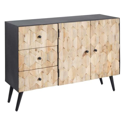 Buffet 2 portes 3 tiroirs en bois et métal gris ANTONIN