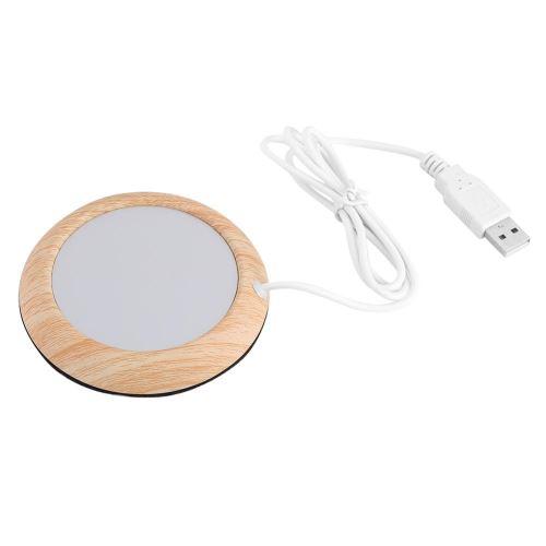 Sous-Tasse Chauffant Avec USB Couleur Bois Claire