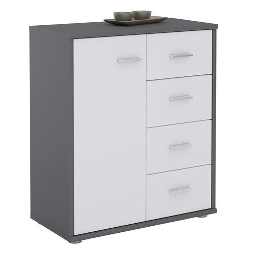 Buffet OSCAR, commode meuble de rangement avec 4 tiroirs et 1 porte, en mélaminé gris mat et blanc mat
