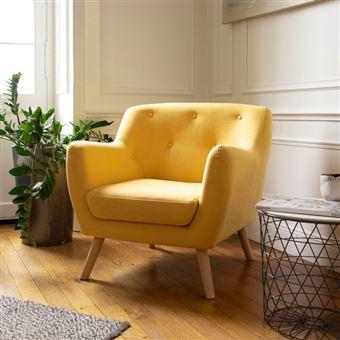 130 sur fauteuil scandinave en tissu jaune moutarde achat prix fnac - Fauteuil Scandinave Moutarde