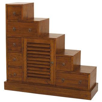 meuble escalier en bois 7 tiroirs 1 porte l105xp37cm freesia achat prix fnac